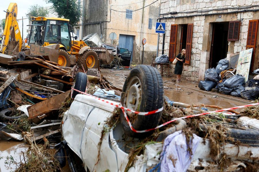 Les dégâts des inondations àSant Llorenç des Cardassar, à Majorque