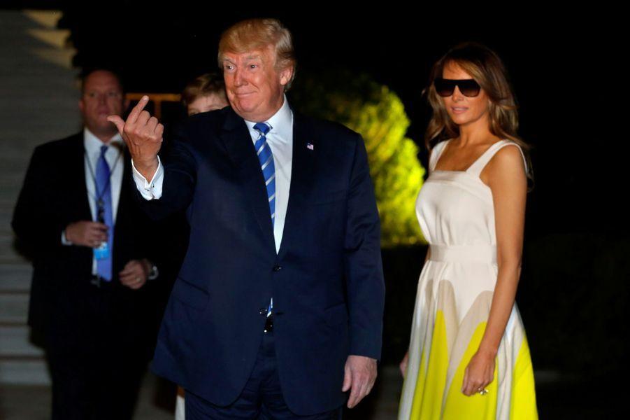 Donald et Melania Trump de retour à la Maison Blanche, le 20 août 2017.