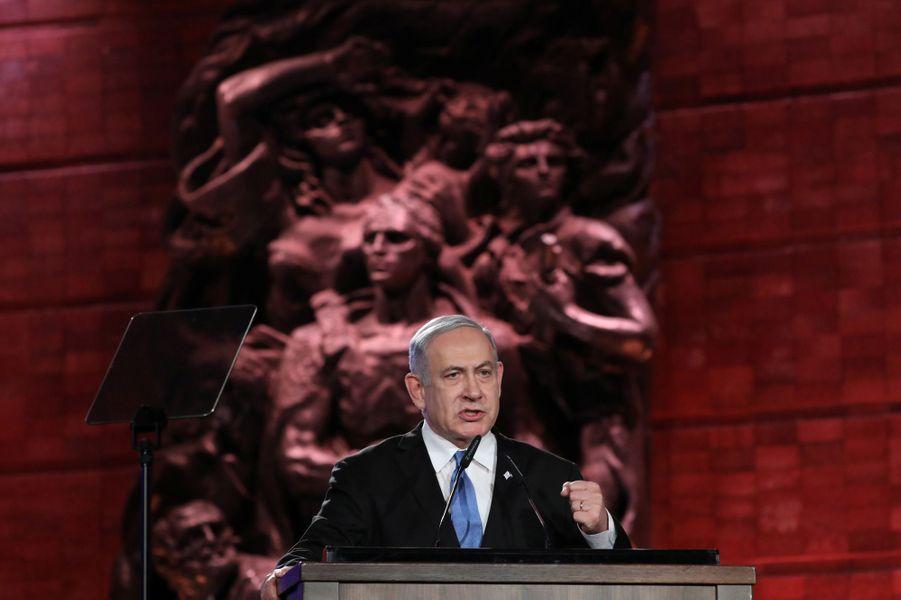 Benjamin Netanyahu àYadVashem, le mémorial de la Shoah à Jérusalem,pour marquer le 75e anniversaire de la libération du camp nazi d'Auschwitz.