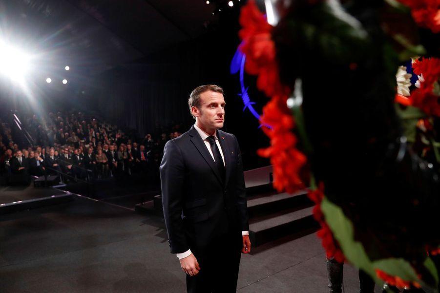 Emmanuel Macron àYadVashem, le mémorial de la Shoah à Jérusalem,pour marquer le 75e anniversaire de la libération du camp nazi d'Auschwitz.