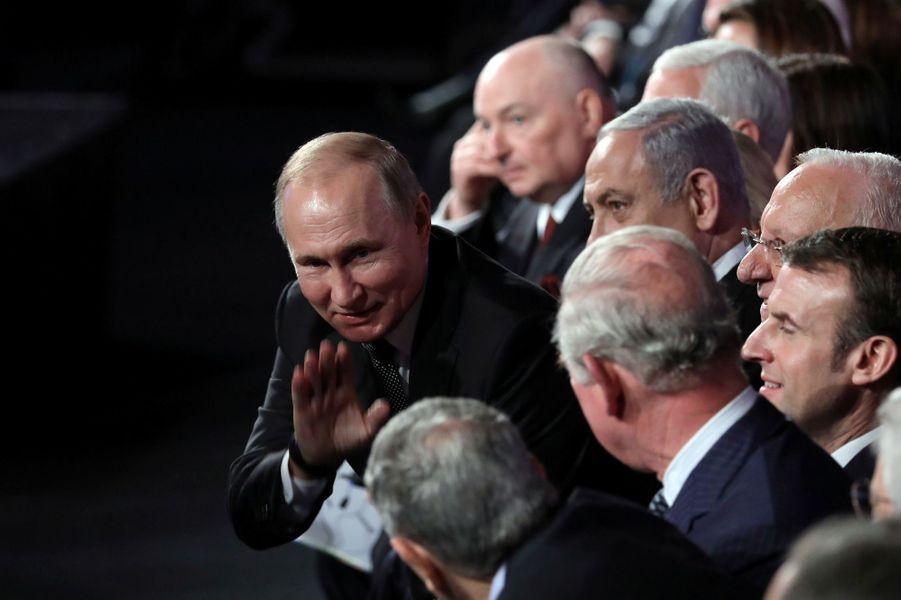 Vladimir Poutine, Emmanuel Macron et le Prince Charles àYadVashem, le mémorial de la Shoah à Jérusalem,pour marquer le 75e anniversaire de la libération du camp nazi d'Auschwitz.