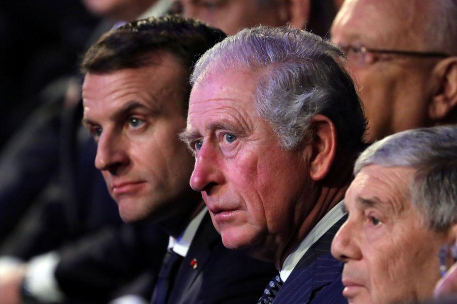 Emmanuel Macron et le Prince Charles àYadVashem, le mémorial de la Shoah à Jérusalem,pour marquer le 75e anniversaire de la libération du camp nazi d'Auschwitz.