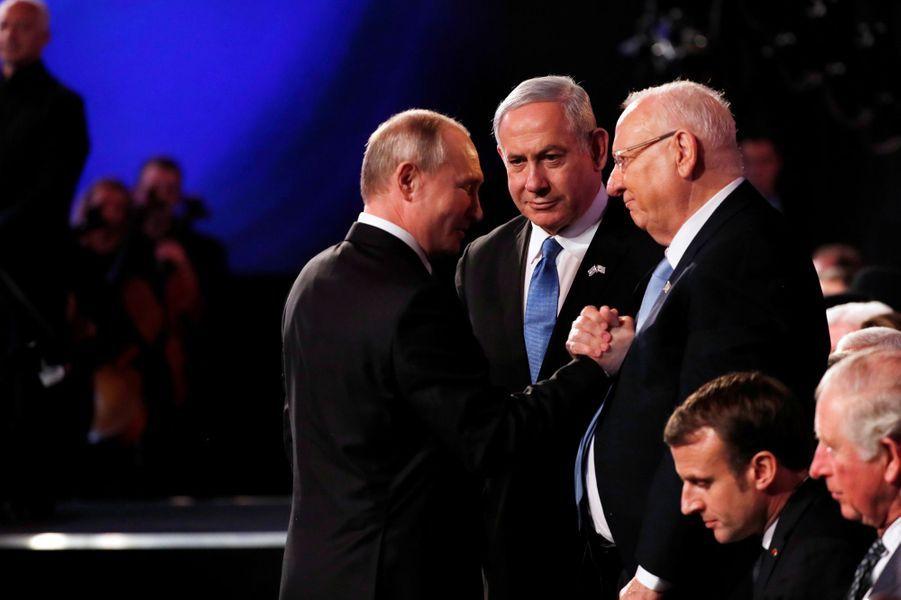 Vladimir Poutine, Reuven Rivlin et Benjamin Netanyahu.