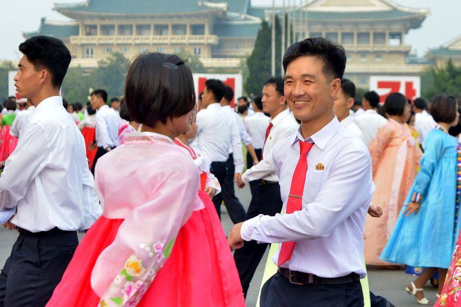 Nouvelles célébrations de l'essai nucléaire nord-coréen à Pyongyang, le 10 septembre 2017.