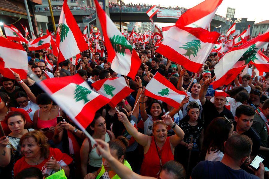 Manifestation àJal el-Dib, au Liban, lundi.
