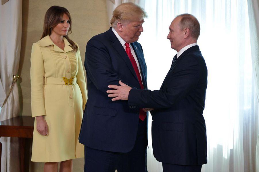 Melania Trump, Vladimir Poutine et Donald Trump à Helsinki, le 16 juillet 2018.