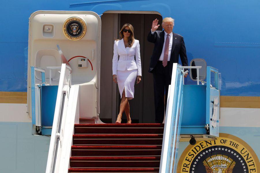 Melania et Donald Trump arrivant en Israël, le 22 mai 2017.