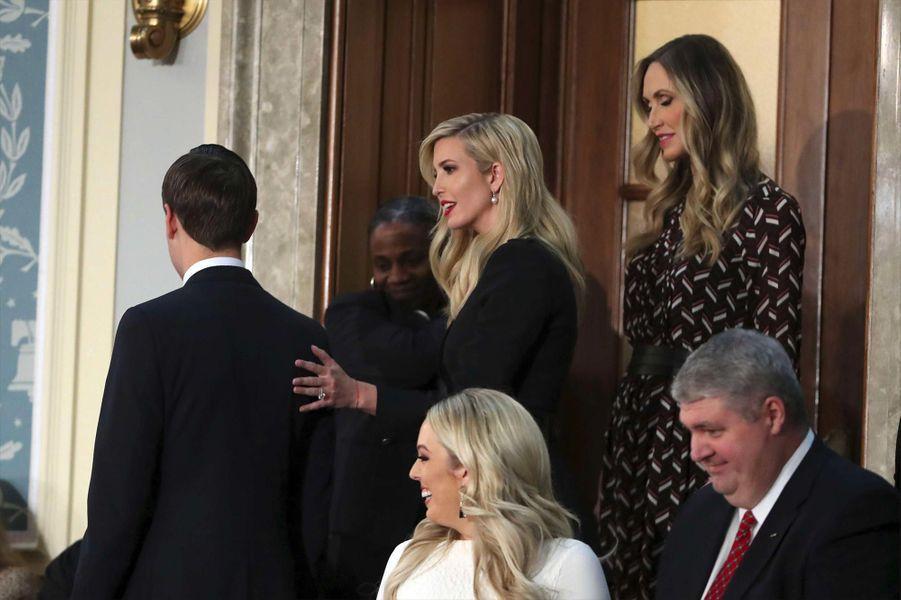Jared Kushner (de dos), Ivanka, Tiffany et Lara Trumpau Capitole pour le discours sur l'état de l'union, le 5 février 2019.