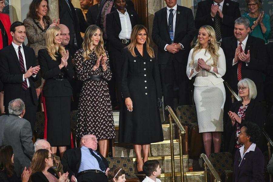 Jared Kushner, Ivanka, Lara, Melania, Tiffany et Eric Trumpau Capitole pour le discours sur l'état de l'union, le 5 février 2019.