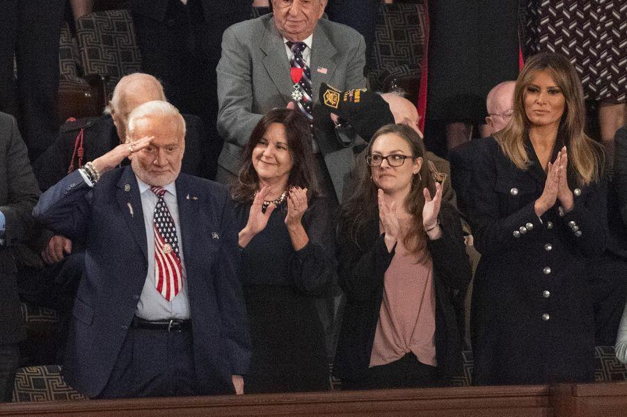 Buzz Aldrin et Melania Trumpau Capitole pour le discours sur l'état de l'union, le 5 février 2019.