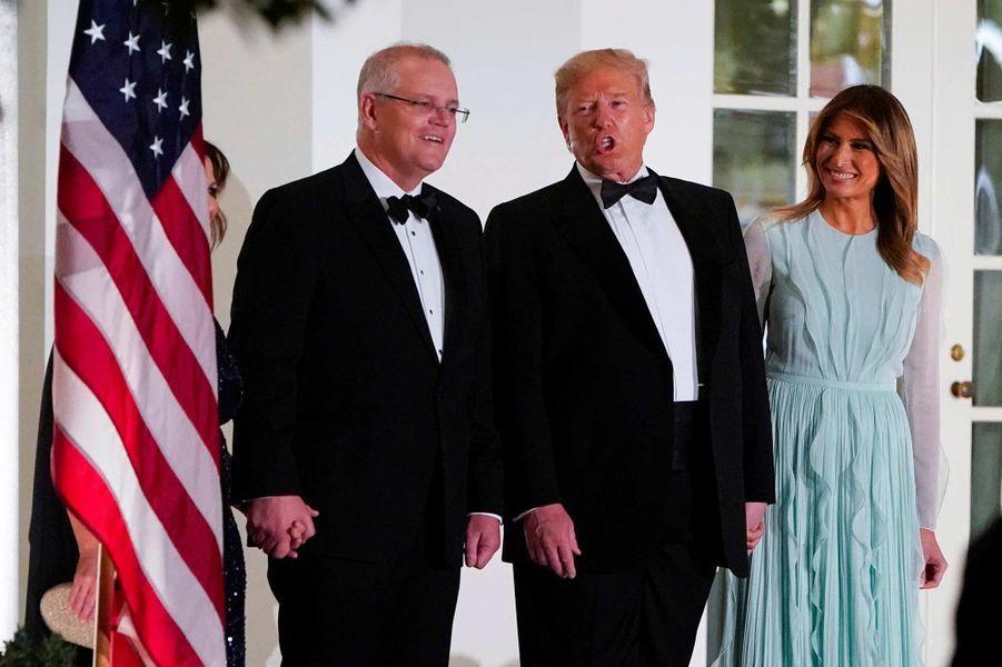 Donald etMelania Trump à la Maison-Blanche pour le dîner d'Etat en l'honneur du Premier ministre australien Scott Morrison et sa femme Jennifer Morrison, le 20 septembre 2019.