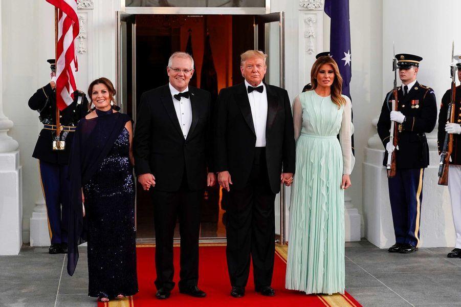 Donald etMelania Trump à la Maison-Blanche pour le dîner d'Etat en l'honneur du Premier ministre australienScott Morrison et sa femme Jennifer Morrison, le 20 septembre 2019.