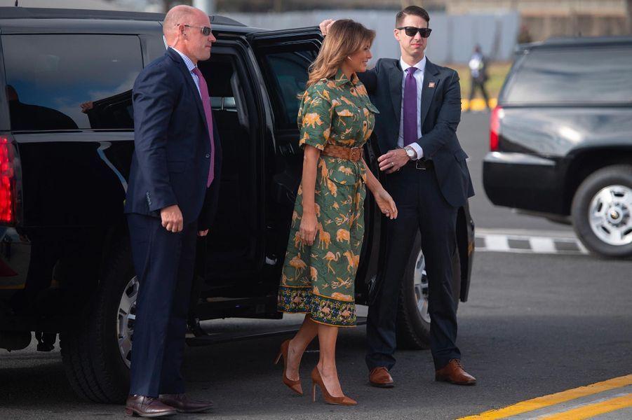 Melania Trump à l'aéroport de Nairobi, au Kenya, le 6 octobre 2018.
