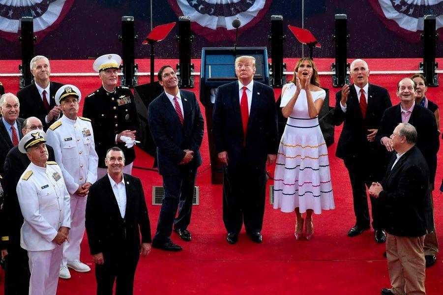 Melania Trump, Mike et Karen Pence lors des célébrations de la fête d'indépendance des Etats-Unis, le 4 juillet 2019.