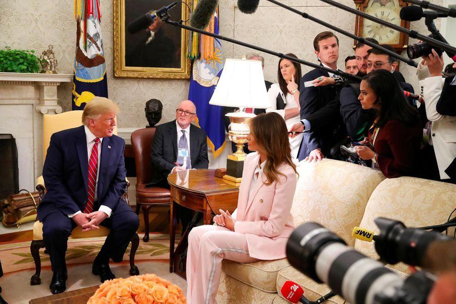 Donald et Melania Trump accueillentAndrzej Duda et Agata Kornhauser-Duda à la Maison-Blanche, le 12 juin 2019.