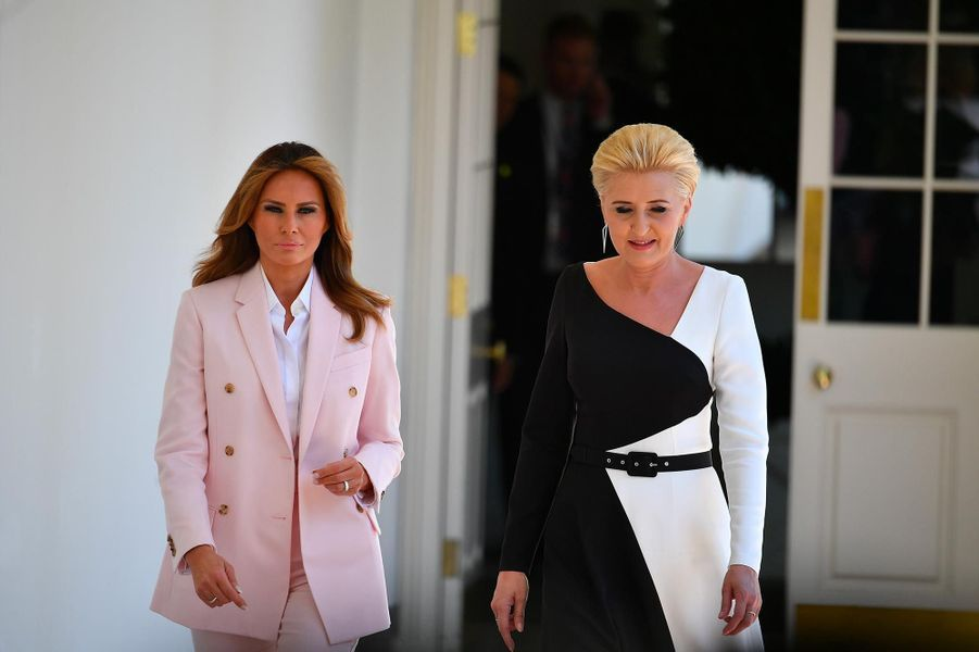 Melania Trump et Agata Kornhauser-Duda à la Maison-Blanche, le 12 juin 2019.