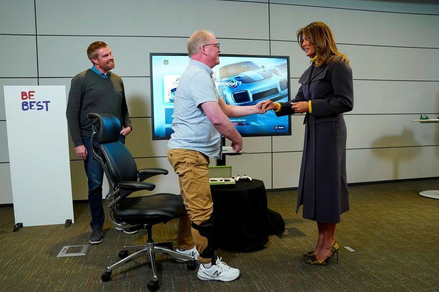 Melania Trump dans les locaux de Microsoft à Richmond, dans l'Etat de Washington, le 4 mars 2019.