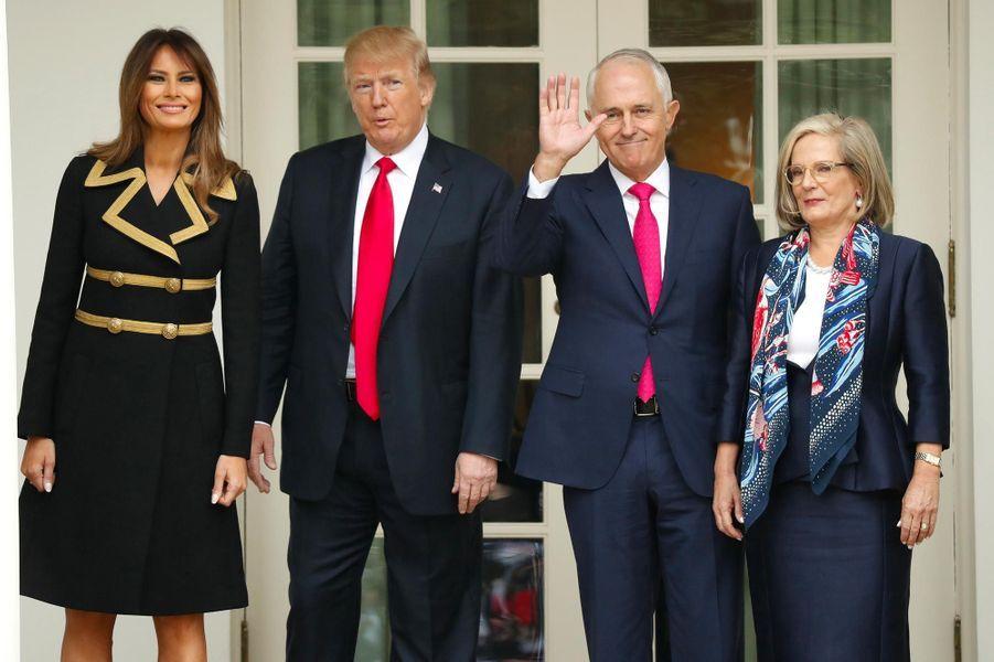 Donald et Melania Trump ont reçu Lucy et Malcolm Turnbull à la Maison-Blanche, le 23 février 2018.