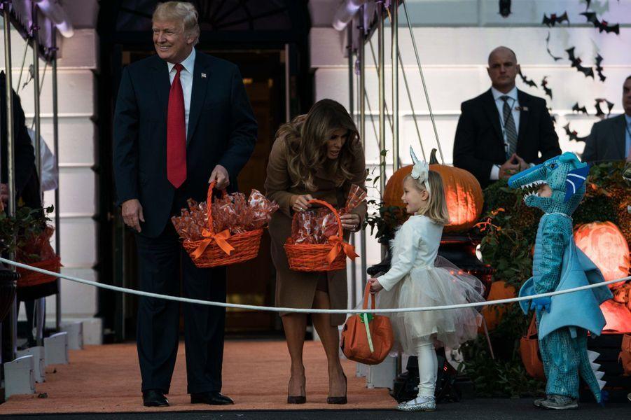 Donald et Melania Trump à la Maison Blanche pour Halloween, le 30 octobre 2017.