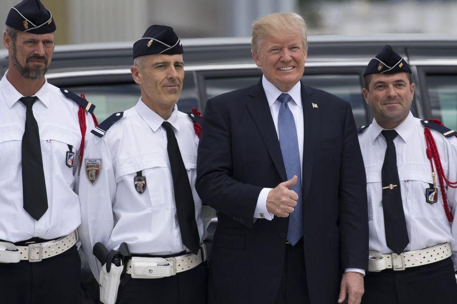 DonaldTrump à l'aéroport d'Orly, le 14 juillet 2017.