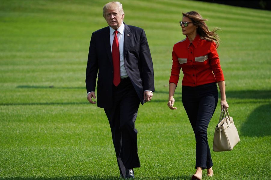 Donald et Melania Trump à la Maison Blanche, le 10 septembre 2017.A voir : Donald Trump a déclaré l'état de catastrophe naturelle pour l'ouragan Irma