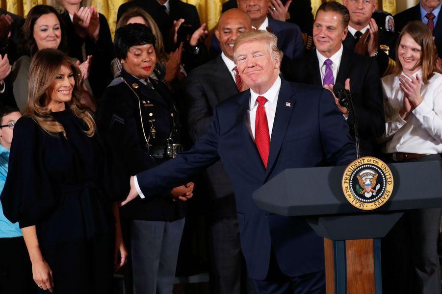 Melania et Donald Trump à la Maison Blanche, le 26 octobre 2017.A voir : Donald et Melania Trump s'engagent dans la crise des opiacés