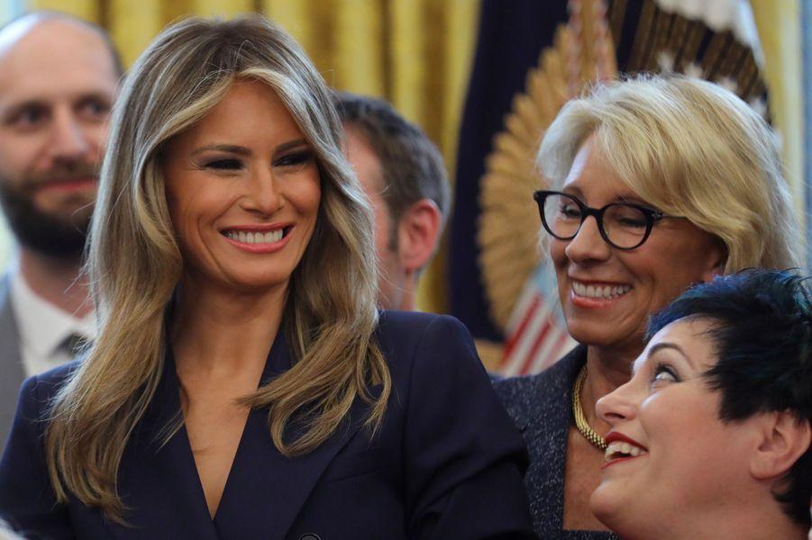 Melania Trump dans le Bureau ovale, le 26 avril 2017.