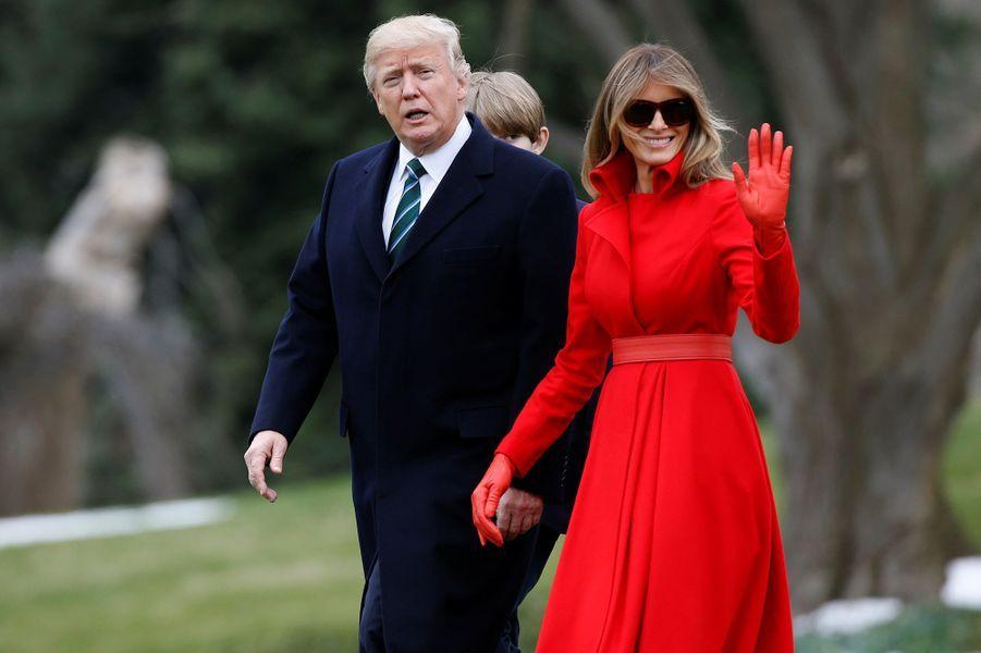 Donald et Melania Trump quittant la Maison Blanche, le 17 mars 2017.A voir : Weekend en Floride pour Donald Trump, avec Melania et leur fils Barron