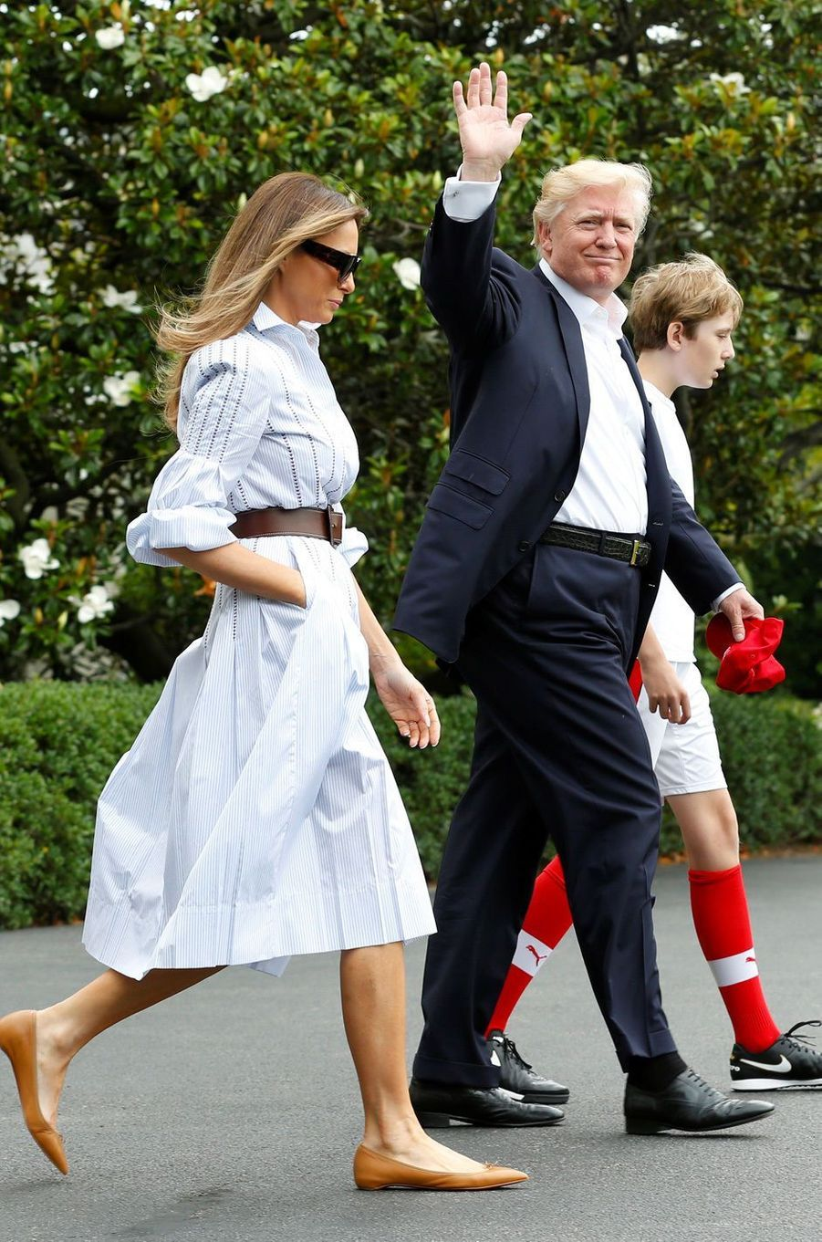 Melania, Donald et Barron Trump quittant la Maison-Blanche, le 17 juin 2017.A voir : Week-end à Camp David pour Donald Trump