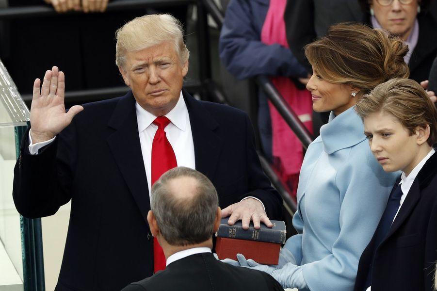 Donald Trump et Melania Trump lors de son investiture, le 20 janvier 2017.