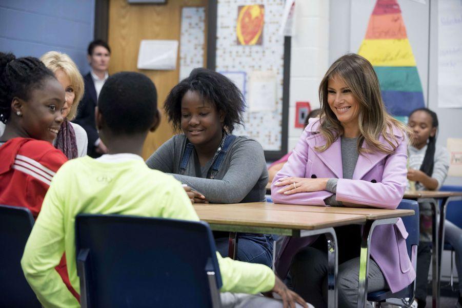 Melania Trump à West Bloomfield, le 23 octobre 2017.A voir : Face à des enfants, Melania Trump prône la gentillesse et la compassion