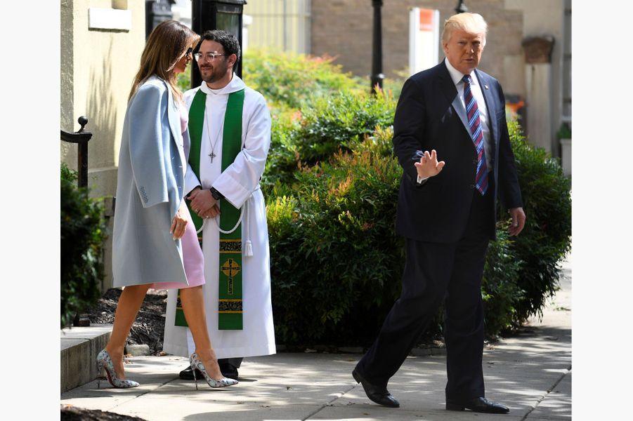 Melania et Donald Trump à Washington, le 3 septembre.A voir : Donald et Melania Trump à l'église pour les victimes d'Harvey