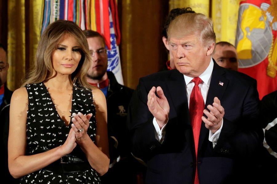 Melania Trump et Donald Trump à la Maison Blanche, le 6 avril 2017.A voir :Les Trump donnent le coup d'envoi d'une course pour les vétérans blessés