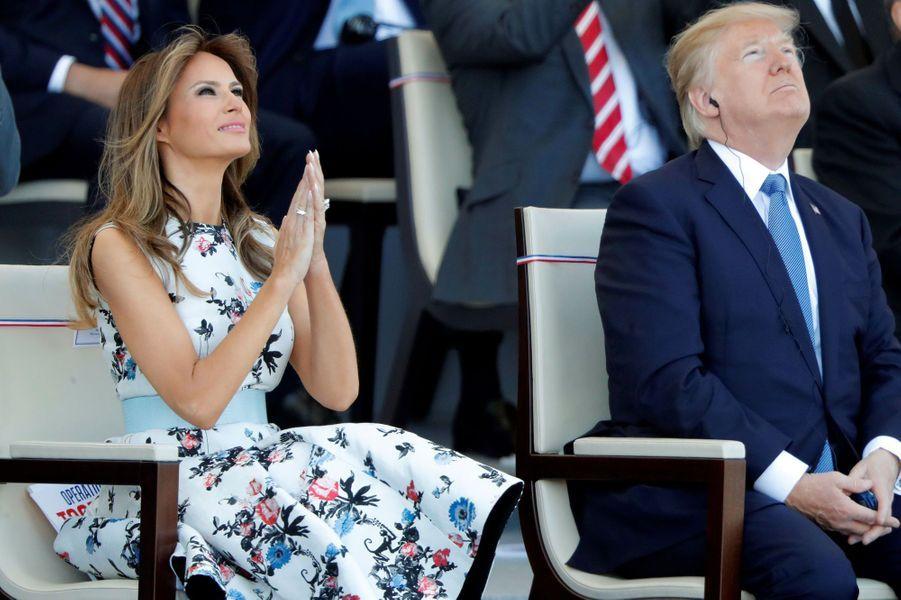 Melania et Donald Trump à Paris, le 14 juillet 2017.A voir : Donald et Melania Trump assistent à leur premier défilé du 14-Juillet