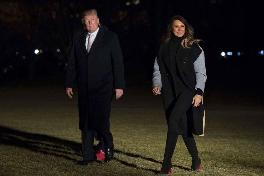 Donald et Melania Trump de retour à la Maison Blanche, le 15 janvier 2018.