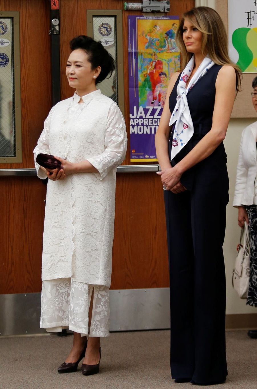 Melania Trump lors de la visite d'une école avec la Première dame chinoise Peng Liyuan à Palm Beach, le 7 avril 2017.