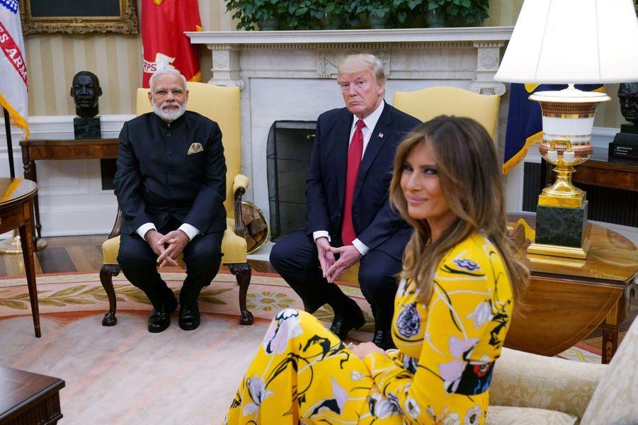 Narendra Modi, Donald et Melania Trump, le 26 juin 2017.A voir :A la Maison Blanche, rencontre avec Narendra Modi pour Melania et Donald Trump