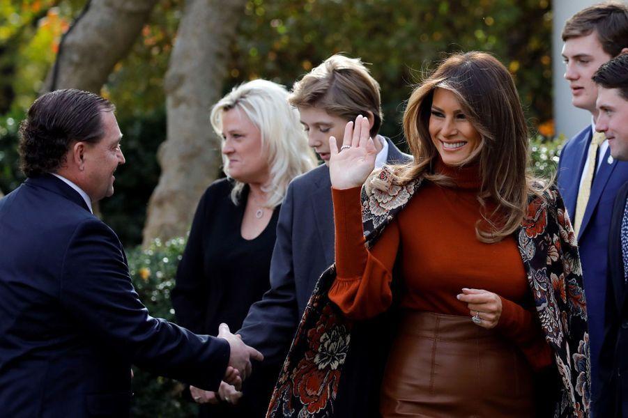 Melania Trump à la Maison Blanche, le 21 novembre 2017.A voir : Donald, Ivanka, Tiffany... les Trump réunis pour gracier Drumstick la dinde