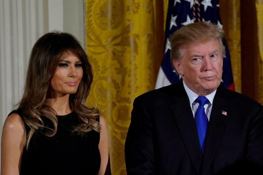 Donald et Melania Trump à la Maison Blanche, le 7 décembre 2017.A voir : Donald Trump a célébré Hanouka à la Maison Blanche