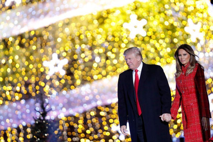 Donald et Melania Trump à la Maison Blanche, le 30 novembre 2017.A voir : La famille Trump réunie pour allumer le sapin de la Maison Blanche