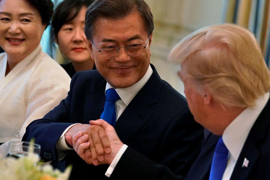 Donald Trump et le président sud-coréen Moon Jae-inà la Maison Blanche, le 29 juin 2017.