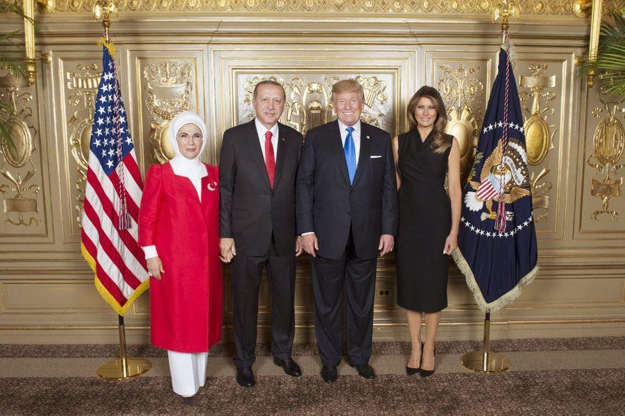 Donald et Melania Trump avec Emine et Recep Tayyip Erdogan à New York, le 19 septembre 2017.