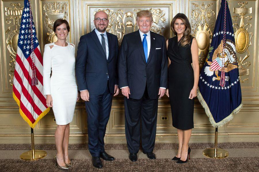Donald et Melania Trump avec Charles Michel et Amélie Derbaudrenghien, à New York, le 19 septembre 2017.