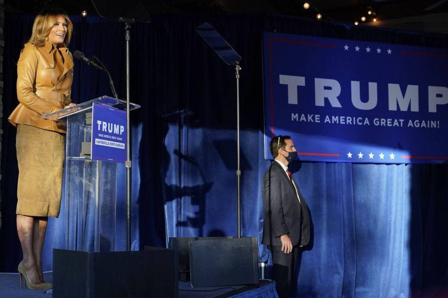 Melania Trump en meeting àHuntersville, en Caroline du Nord, le 2 novembre 2020.
