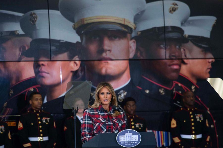 Melania Trump sur laJoint Base Anacostia-Bolling à Washington, le 11 décembre 2018.