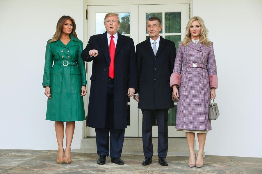 Melania et Donald Trump avec Andrej Babis et Monika Babisova à la Maison-Blanche, le 7 mars 2019.