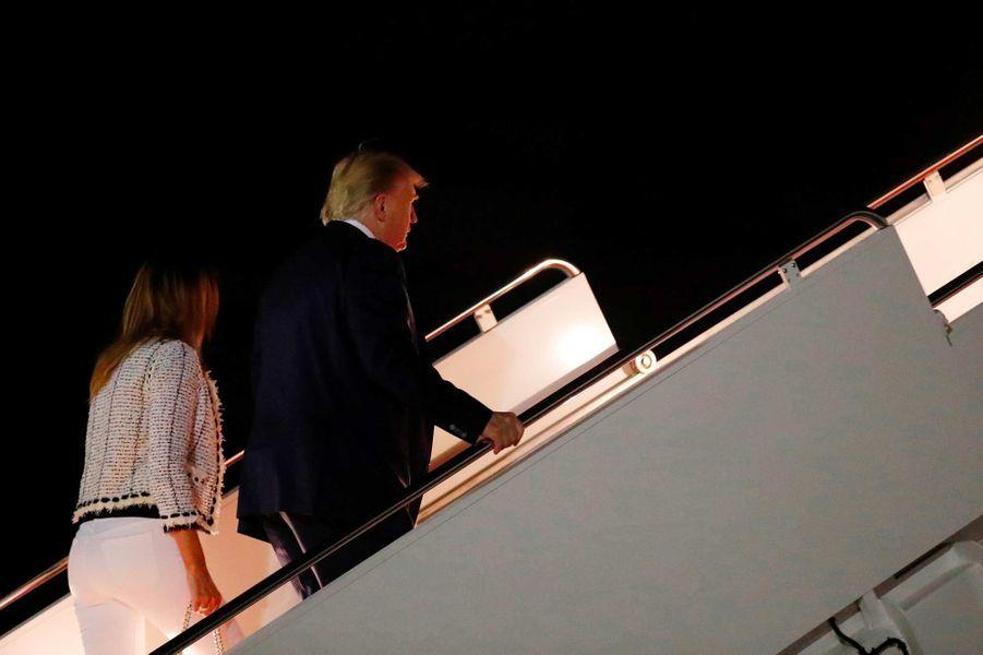 Melania Trump avant de s'envoler pour Biarritz, le 23 août 2019.