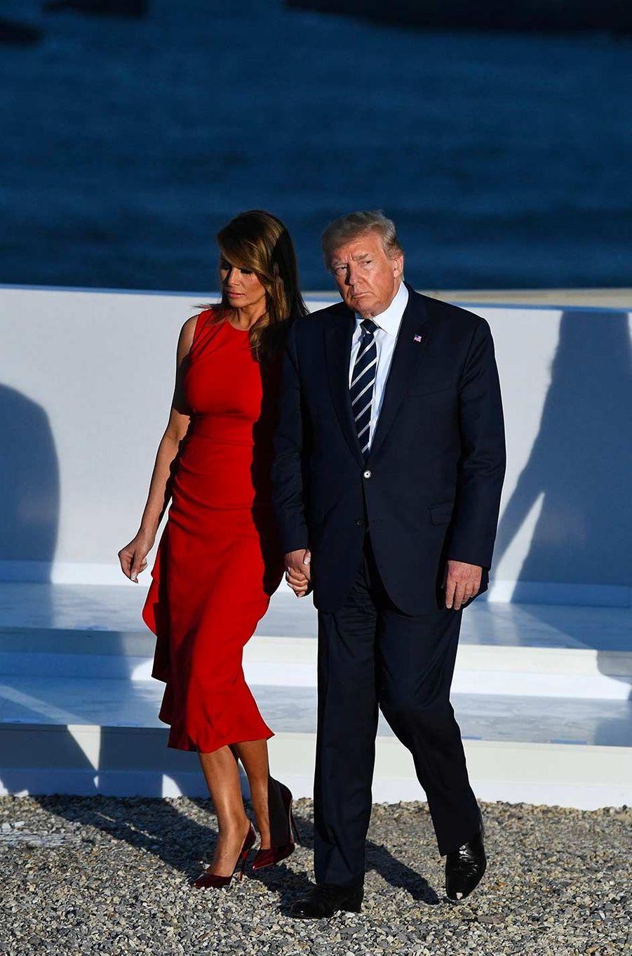 Melania Trump arrivant au deuxième dîner de travail du sommet du G7 à Biarritz, le 25 août 2019.
