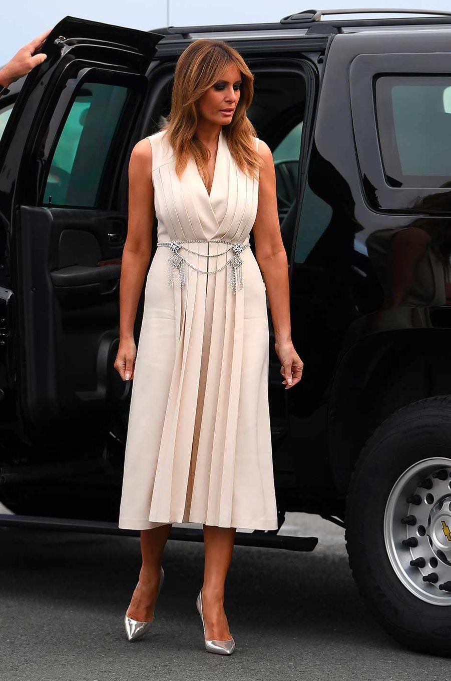 Melania Trump arrivant au premier dîner de travail du sommet du G7, le 24 août 2019.