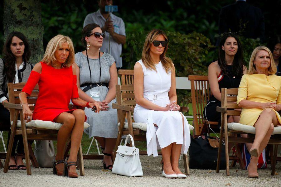 Melania Trump et Brigitte Macron en marge du sommet du G7, le 25 août 2019.
